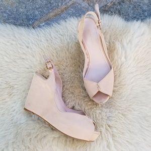 BCBGeneration Shoes - BCBG nude leather peeptoe wedge